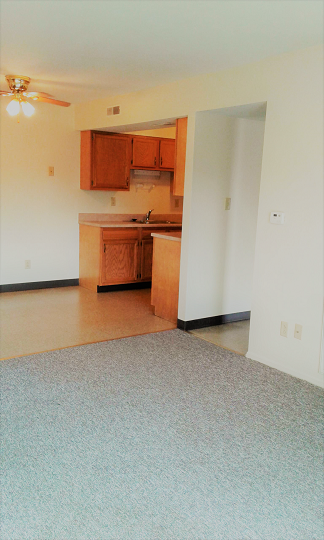 View of kitchen/dining and hallway from the livingroom
